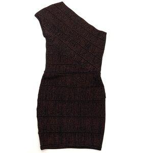 MARCIANO Bodycon Black & Copper Stretch Mini Dress